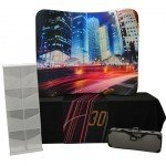 """Trade Show Table Top Travel Kit 6, 30"""" Runner, 8ft Unprinted Black Table Cloth, 6ft Wave Tube Display, Literature Holder"""