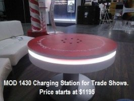 MOD-1430 Charging Station Coffee Table - tradeshow digital display