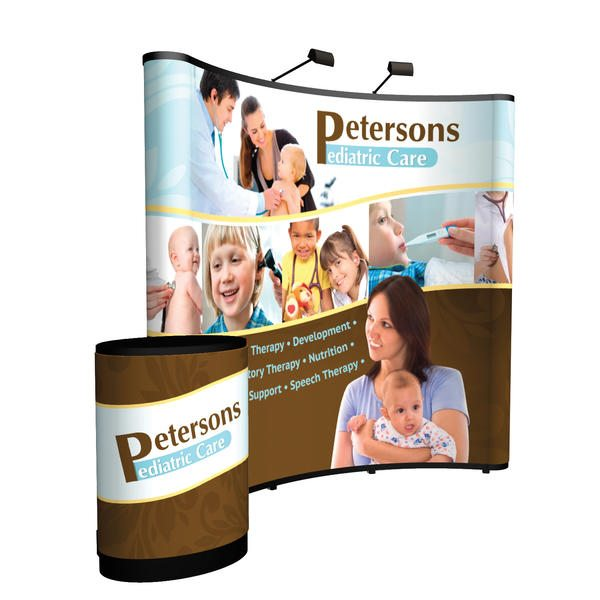 8ft curved show n rise pop up display