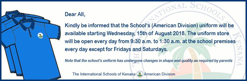 International School of kenana | American Division - The American Division Uniform