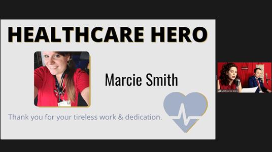 Dara Cameron and Michael Mahler honor a Healthcare Hero.