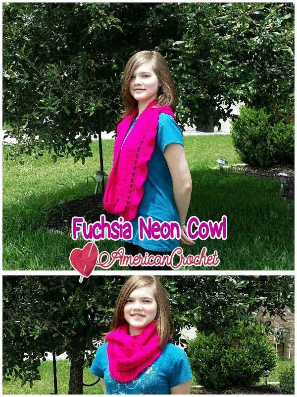 Fuchsia Neon Cowl | Free Crochet Pattern | American Crochet @americancrochet.com #freecrochetpattern