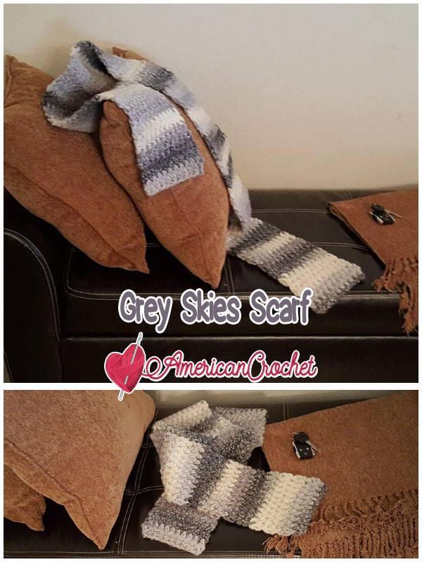 Grey Skies Scarf | Free Crochet Pattern | American Crochet @americancrochet.com #freecrochetpattern