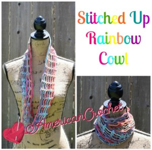 Stitched Up Rainbow Cowl Free Crochet Pattern