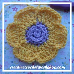 The Rapunzel Flower | Free Crochet Pattern | American Crochet @americancrochet.com @creativecrochetworkshop.com #freecrochetpattern