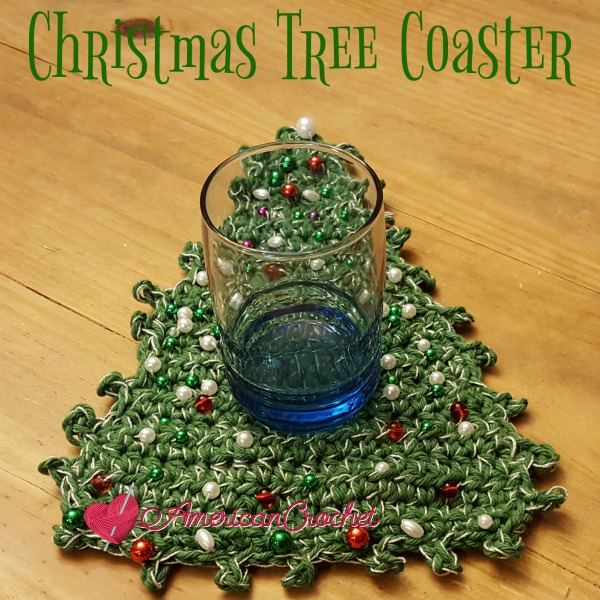 Christmas Tree Coaster | Crochet Pattern | American Crochet @americancrochet.com #crochetpattern