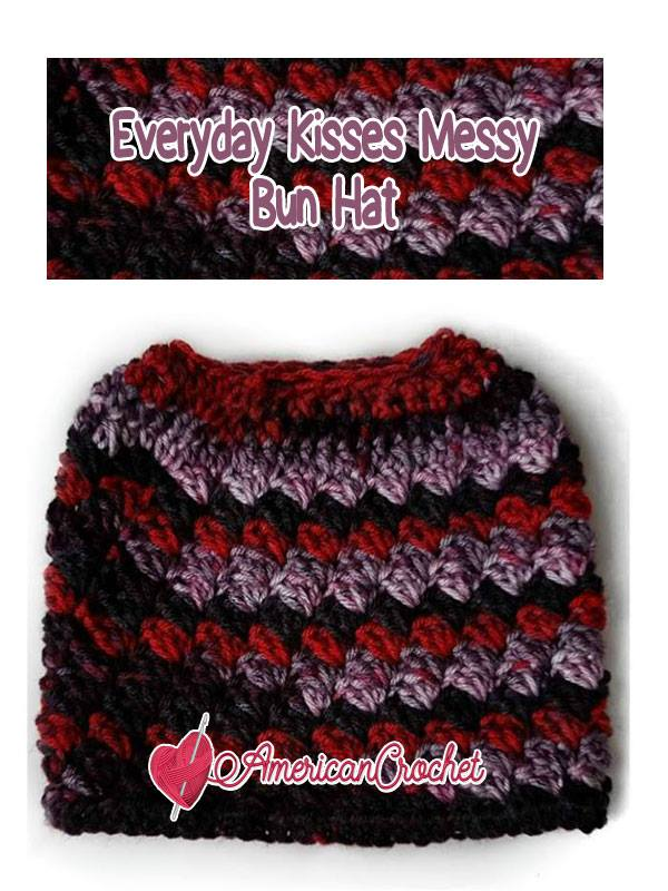 Everyday Kisses Messy Bun Hat | Free Crochet Pattern | American Crochet @americancrochet.com #freecrochetpattern