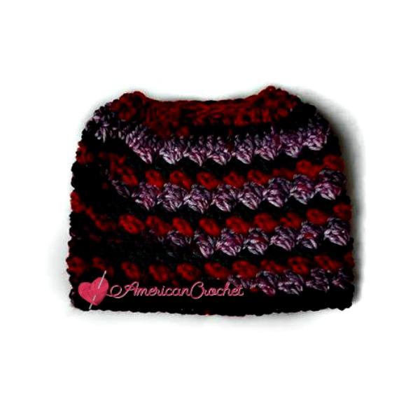 Everyday Kisses Messy Bun Hat   Free Crochet Pattern   American Crochet @americancrochet.com #freecrochetpattern