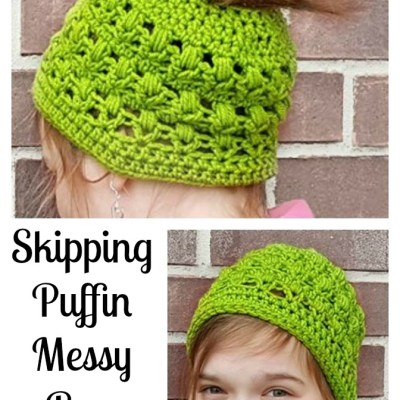 Skipping Puffin Messy Bun Hat ~ Free Crochet Pattern