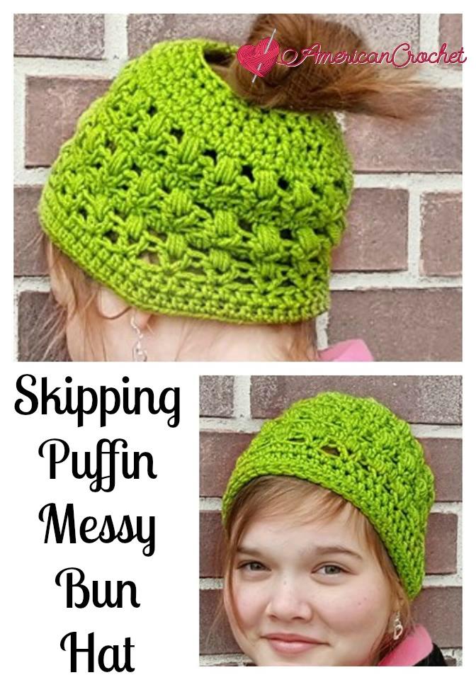 Skipping Puffin Messy Bun Hat American Crochet