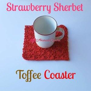 Strawberry Sherbet Toffee Coaster | Free Crochet Pattern | American Crochet @americancrochet.com #freecrochetpattern