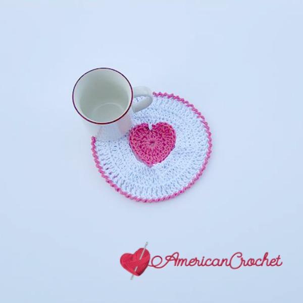 Creamy Truffle Heart Coaster | Free Crochet Pattern | American Crochet @americancrochet.com #freecrochetpattern