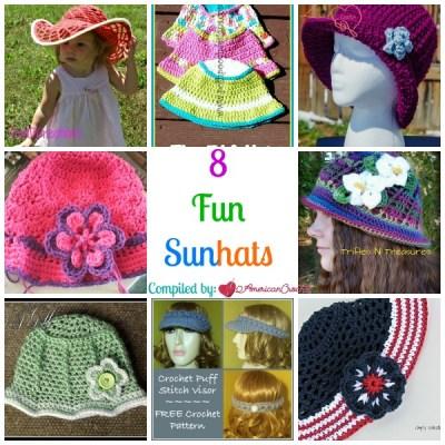 8 Fun Sunhats ~ Free Crochet Pattern Roundup