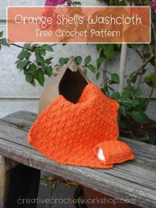 Orange Shells Washlcoth | Free Crochet Pattern | Creative Crochet Workshop @creativecrochetworkshop.com @americancrochet.com #freecrochetpattern