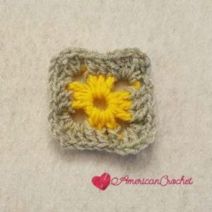 Rhapsody Flower Granny Square | Free Crochet Pattern | American Crochet @americancrochet.com #freecrochetpattern