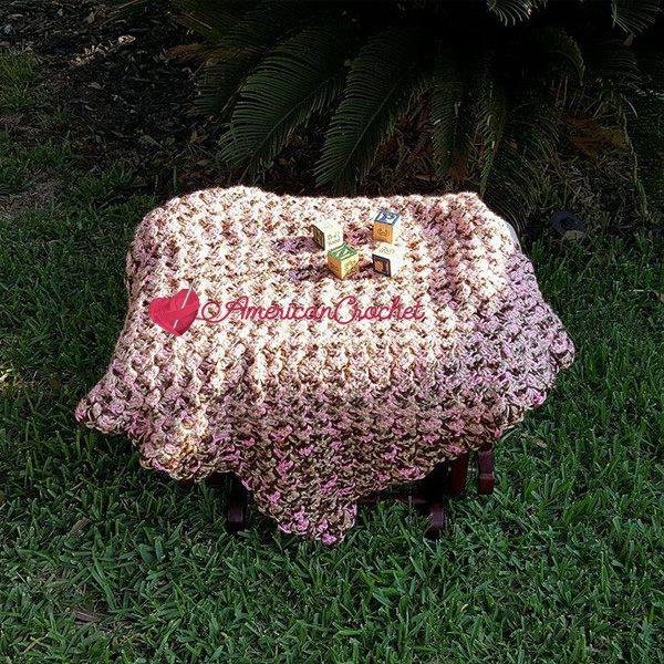 Soft Cherry Steps Baby Blanket | Free Crochet Pattern | American Crochet @americancrochet.com #freecrochetpatterns