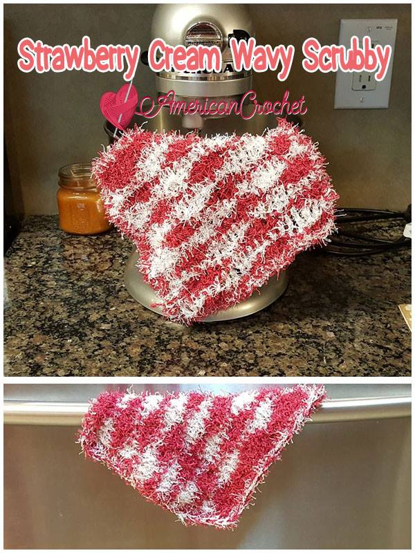 Strawberry Cream Wavy Scrubby | Free Crochet Pattern | American Crochet @americancrochet.com #Strawberry Cream Wavy Scrubby