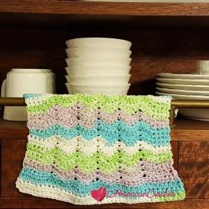 Sugar Rainbow Wave Dishcloth ~ Free Crochet Pattern