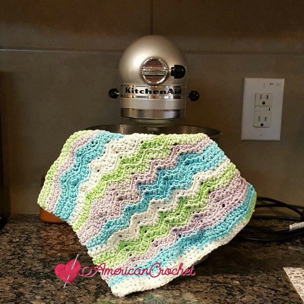 Sugar Rainbow Wave Dishcloth | Free Crochet Pattern | American Crochet @americancrochet.com #SugarRainbowWaveDishcloth