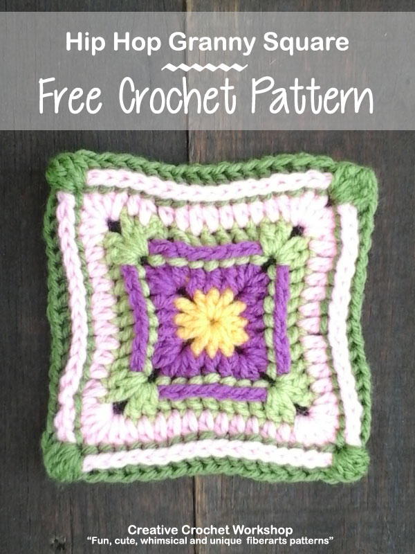 Hip Hop Granny Square - Free Crochet Pattern | Creative Crochet Workshop @creativecrochetworkshop |American Crochet @americancrochet #grannysquare #freecrochetpattern #groovygrannysquarecal