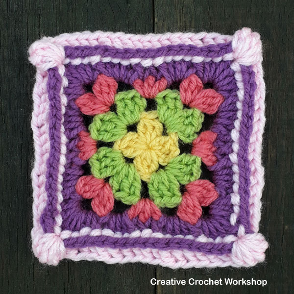 Groovy Cluster Granny Square - Free Crochet Pattern | Creative Crochet Workshop @creativecrochetworkshop | American Crochet @americancrochet #grannysquare #freecrochetpattern #groovygrannysquarecal