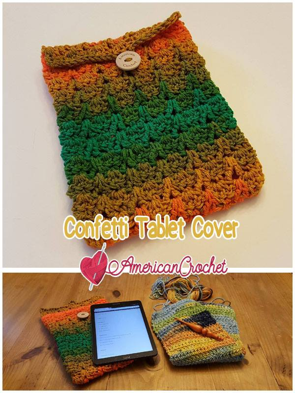 Confetti Tablet Cover | Free Crochet Pattern | American Crochet @americancrochet.com #freecrochetpattern