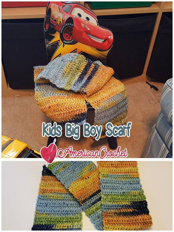 Kids Big Boy Scarf   Free Crochet Pattern   American Crochet @americancrochet.com #freecrochetpattern