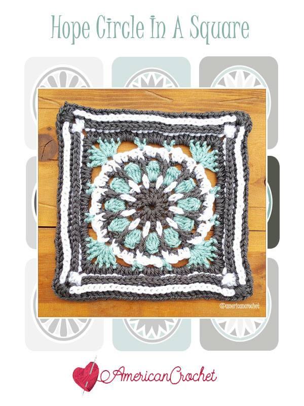 Hope Circle in A Square | Free Crochet Pattern | American Crochet @americancrochet.com #freecrochetpattern #freecrochetalong