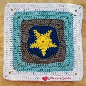 Sea Star Afghan Square   Crochet Pattern   American Crochet @americancrochet.com #crochetalong #crochetpattern