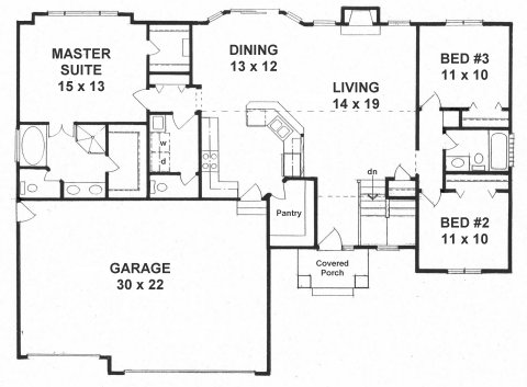 plan #1527 - 3 split-bedroom ranch w/ walk in pantry and walk in