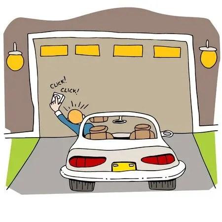 Man points garage door opener at door with broken garage door springs