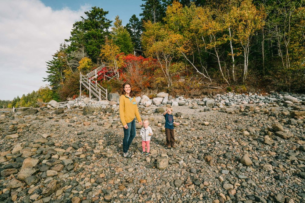 a family with kids exploring a rocky beach in acadia national park