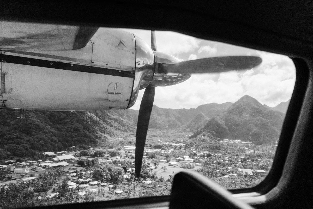 the view from the airplane flying into american samoa