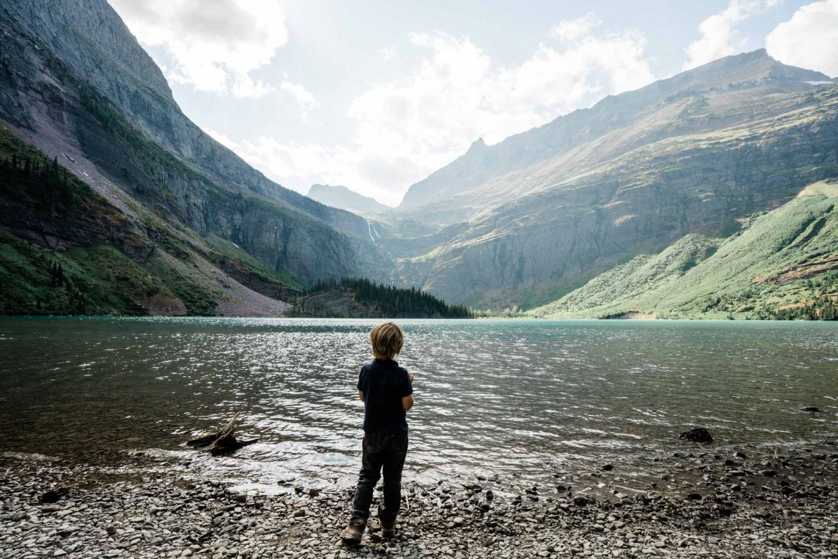 kids hiking at grinell lake in glacier national park
