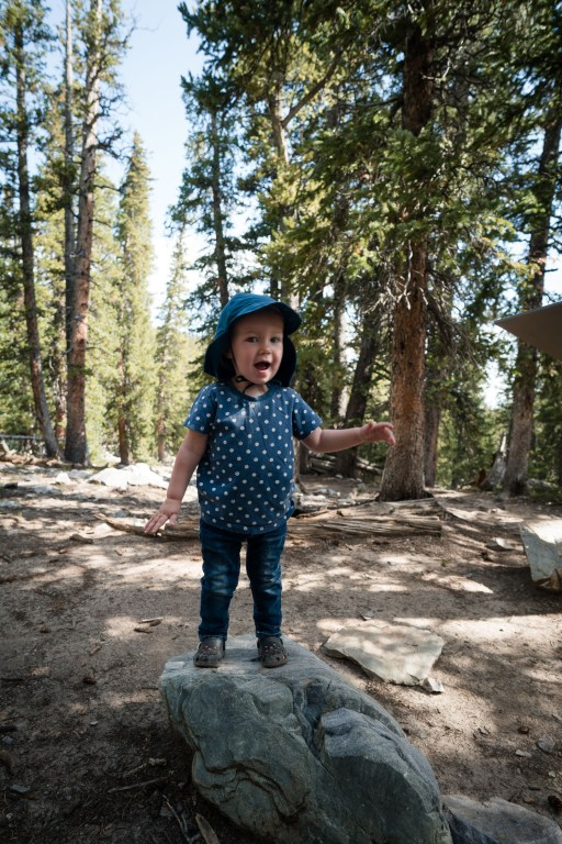 child on rock in great basin national park