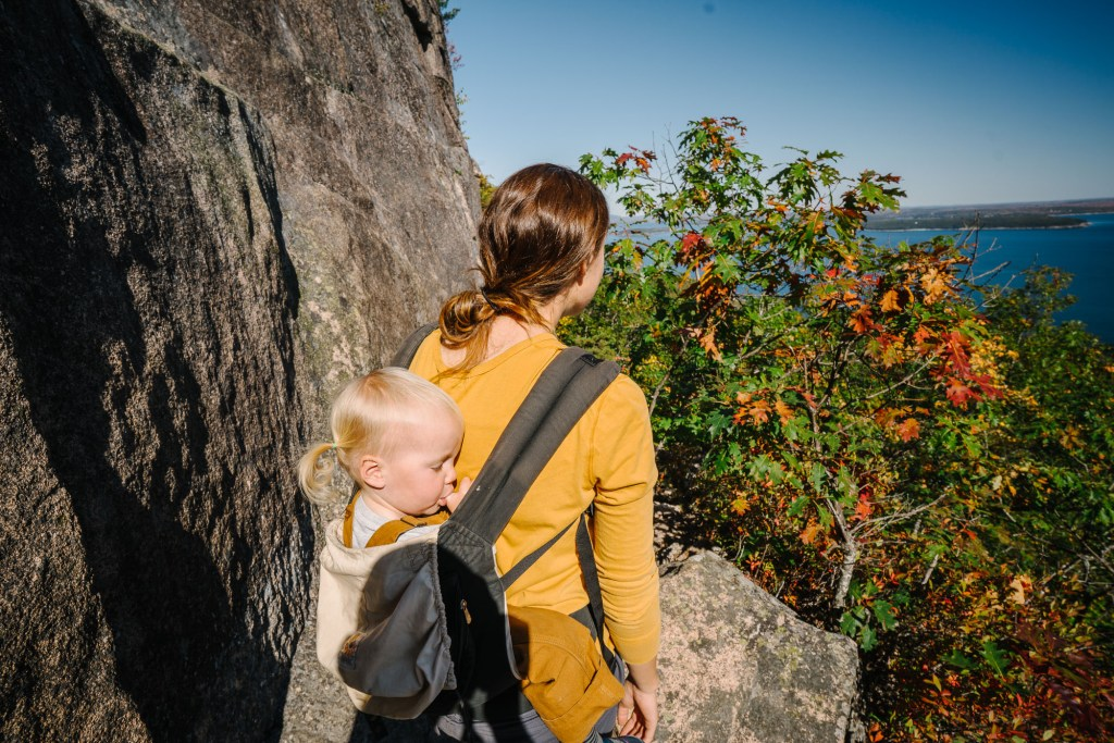 baby carrier hiking in Acadia
