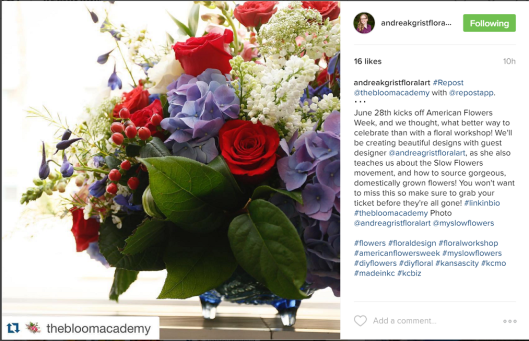 Here's the gorgeous arrangement Andrea used to promote her workshop on Instagram.