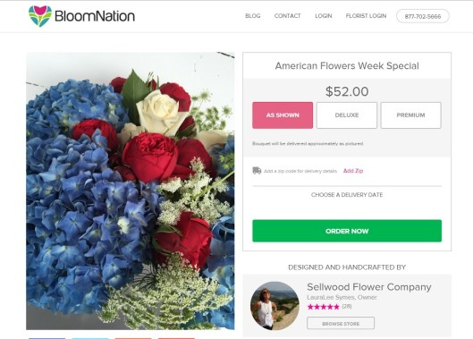Sellwood Flower Co.'s 2016 American Flowers Week bouquet offered on Bloom Nation