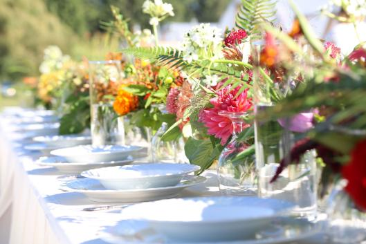 """Syndicate's """"gather"""" vases held all local flowers designed by Melissa Feveyear of Terra Bella Flowers at the Field to Vase Dinner last September held on Jello Mold Farm in Mt. Vernon, Washington"""