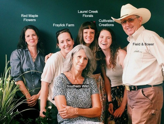 Meet the SC Upstate Flowers team, from left: Erin Howe, Red Maple Flowers; Melissa Smith, Fraylick Farm; Kendra Schirmer, Laurel Creek Florals; Ashley Morris, Cultivated Creations; Ed Phillips, Field and Flower; and (in front) Julie Hill, Southern Wild Designs. Photo: (c) Suzie Bunn