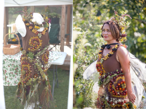 botanical couture dress in process at Hilltop Community Farm