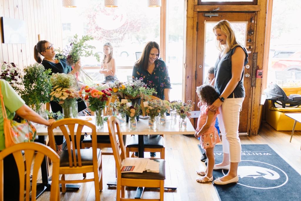 American Flowers Week pop-up flower bar