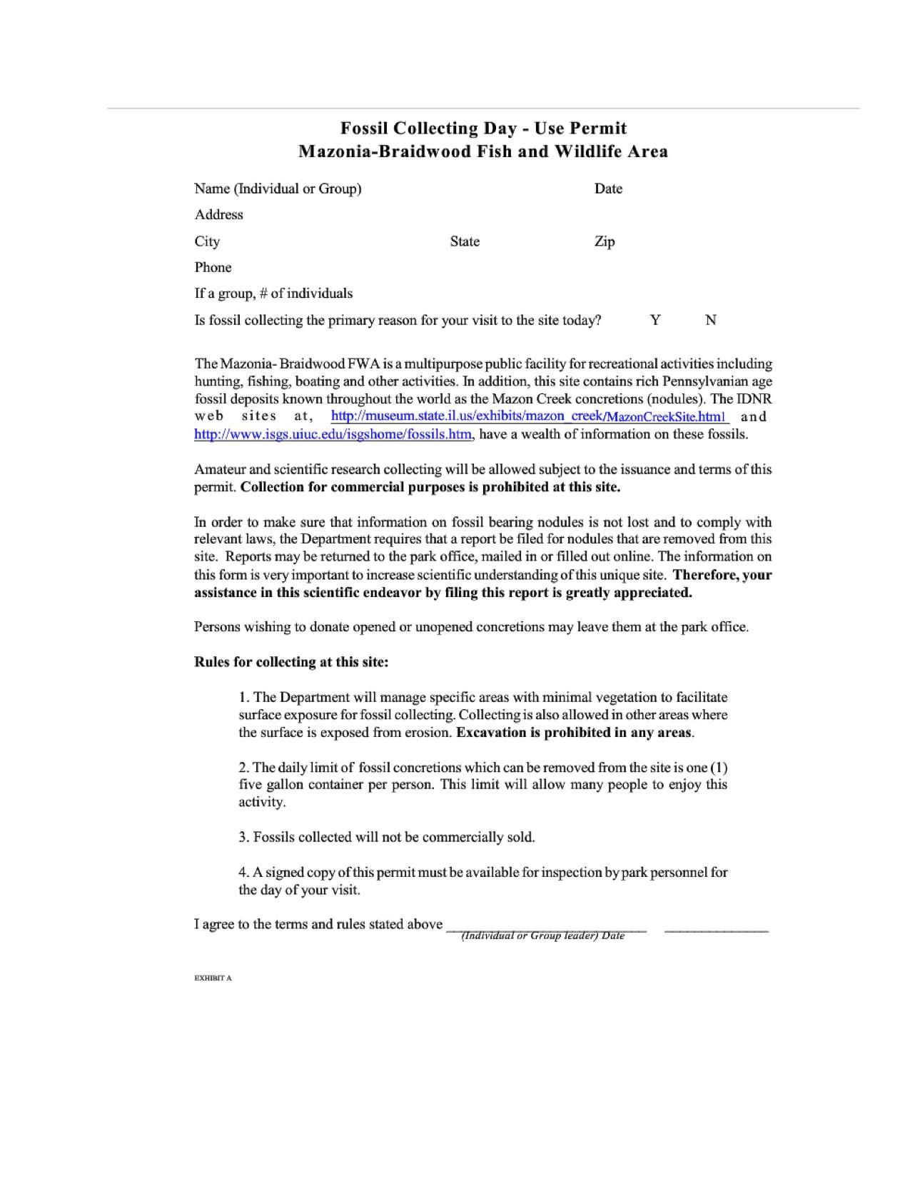 Mazon Creek Fossil Hunt Permit Illinois pdf