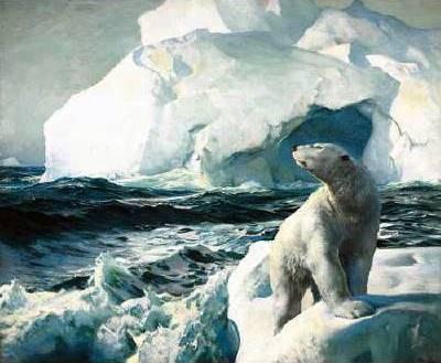 North Polar Bear And Icebergs