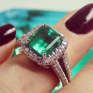Emerald and diamond ring from Suna Bros.