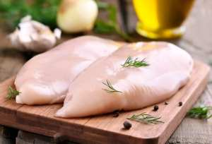 Raw chicken on cutting board