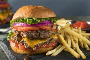 Double hamburger and french fries