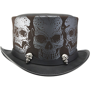 From the depths of darkness and the mists of the afterlife comes Silver Skull with the 2 Skull band designed by acclaimed tattoo artist Adam Rose. Meticulously imagined and artfully laser engraved, this hat bridges the legendary gap between life and death. The silver skulls on the 2 Skull band offer an added spark to the already heated debate – to live or to die.