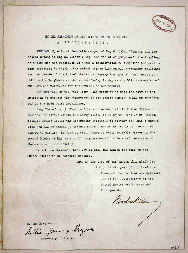President Woodrow Wilson's Proclaimed The First Official Mother's On May 9, 1914