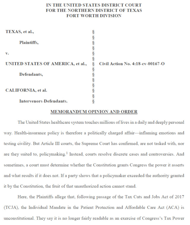 Judge Reed O'Connor Rules Obamacare Unconstitutional